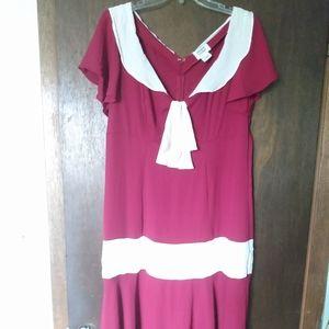 1920s/1930s Replica Burgundy Day Dress